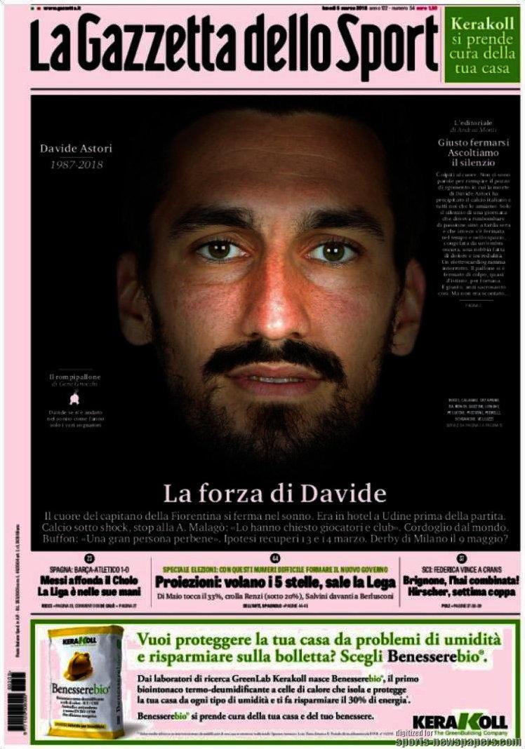 La drammatica morte di Astori occupa molto spazio sui quotidiani italiani. E anche esteri