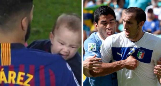 Barcellona, il figlio di Suarez imita il morso a Chiellini