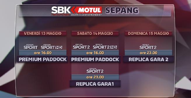 Superbike, round Sepang: gli orari in tv