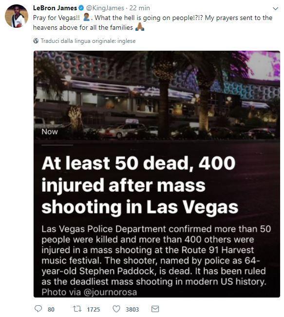 Las Vegas, il dolore del mondo dello sport