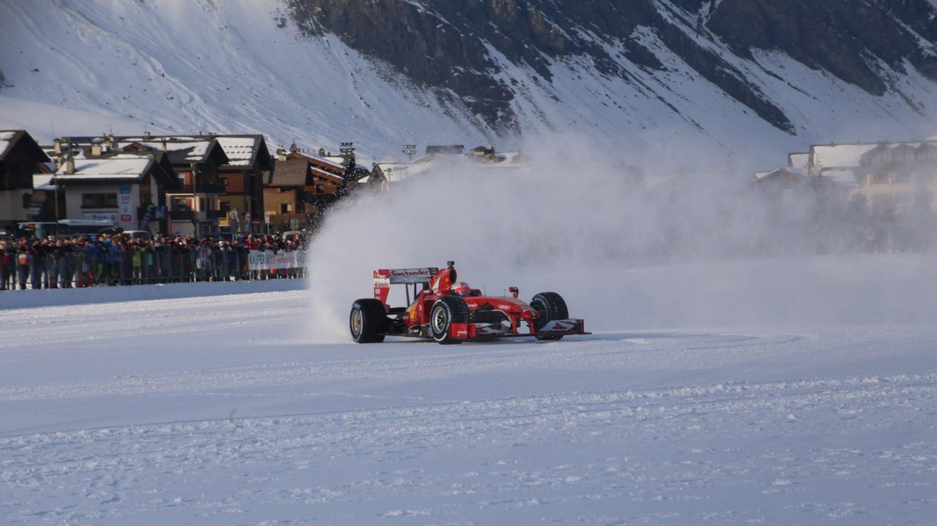 Febbraio 2016. Giancarlo Fisichella sulla neve di Livigno