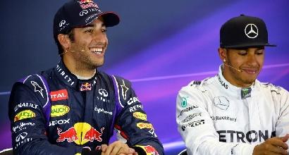 Hamilton, Rosberg e Ricciardo (AFP)
