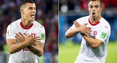 Mondiali 2018, Xhaka e Shaqiri rischiano due giornate di squalifica per l'esultanza dell'aquila