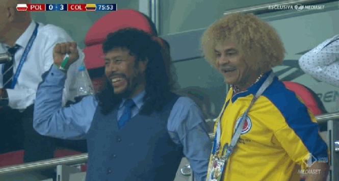 Mondiali 2018: Higuita e Valderrama scatenati in tribuna