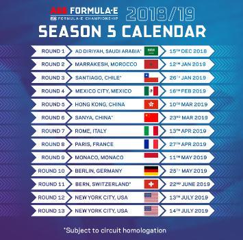 Formula E, ecco il calendario: 13 E-Prix nel 2019