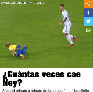 Neymar, in Argentina contano le volte che si è rotolato a terra