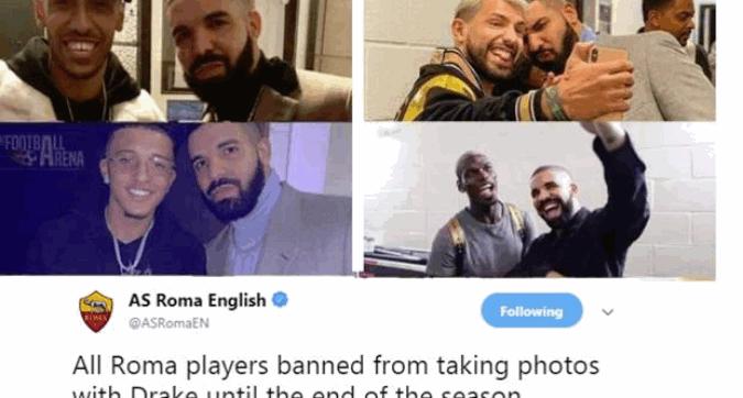 """Roma, monito del club ai giocatori: """"Niente foto con Drake"""""""
