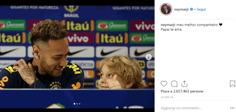 Brasile, Neymar in conferenza con il figlio