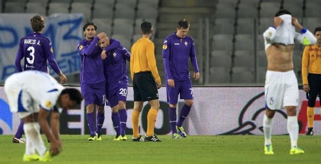 La festa della Fiorentina, foto Reuters