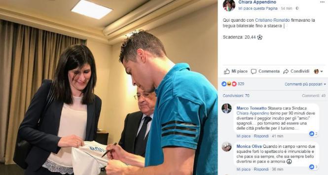 """Il Real dalla sindaca di Torino, Chiara Appendino: """"Firmata la tregua bilaterale"""""""