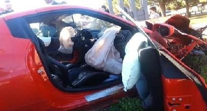 La Ferrari di Niang dopo l'incidente nel febbraio 2014 a Montpellier.