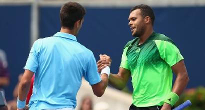 Djokovic e Tsonga, foto Afp