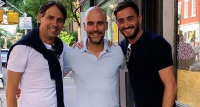 Guardiola a New York: incontro con Simone Inzaghi e Aquilani
