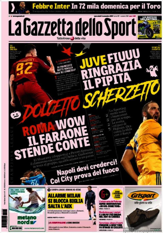 Ecco le prime pagine e gli approfondimenti sportivi dei principali quotidiani italiani e stranieri in edicola oggi, mercoledì 1 novembre 2017.
