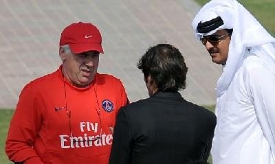 Ancelotti, Leonardo, Al Thani foto Afp