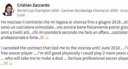 Zaccardo senza squadra: la cerca su LinkedIn