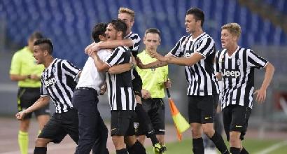 La Juve fa festa dopo il gol, foto Lapresse