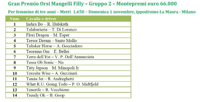 Gran Premio Orsi Mangelli: saranno sedici i trottatori al via
