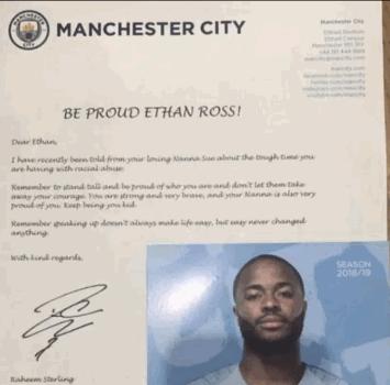Manchester City, Sterling scrive a un tifoso vittima di razzismo