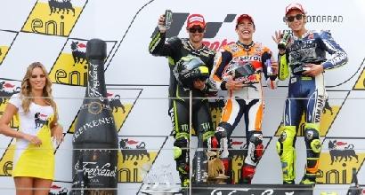 Marquez Crutchlow e Rossi sul podio foto MotoGP.com