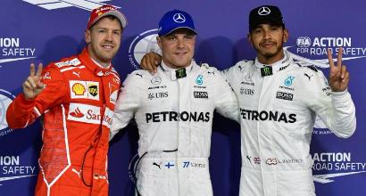 Vettel-Bottas-Hamilton, AFP