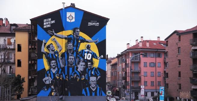 La storia dell'Inter diventa urban art con Mediaset Premium: ecco INTERWALL