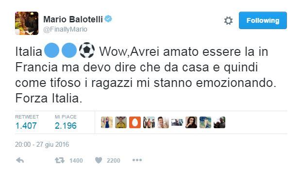 """Balotelli: """"Avrei voluto esserci"""". E Vale è commosso"""
