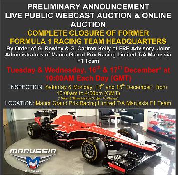 F1, la Marussia va all'asta