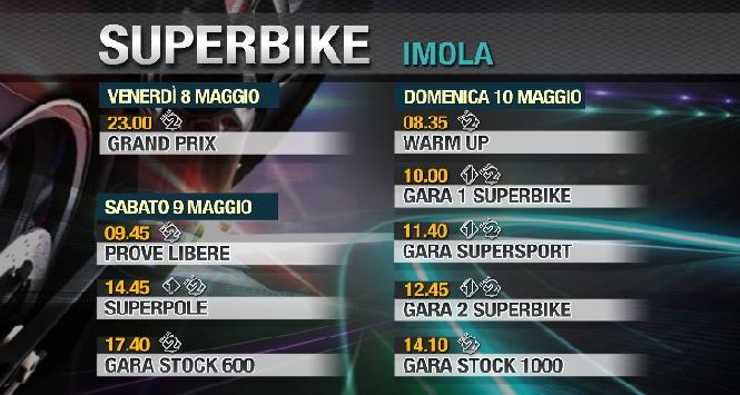 Superbike: gli orari tv del round Imola