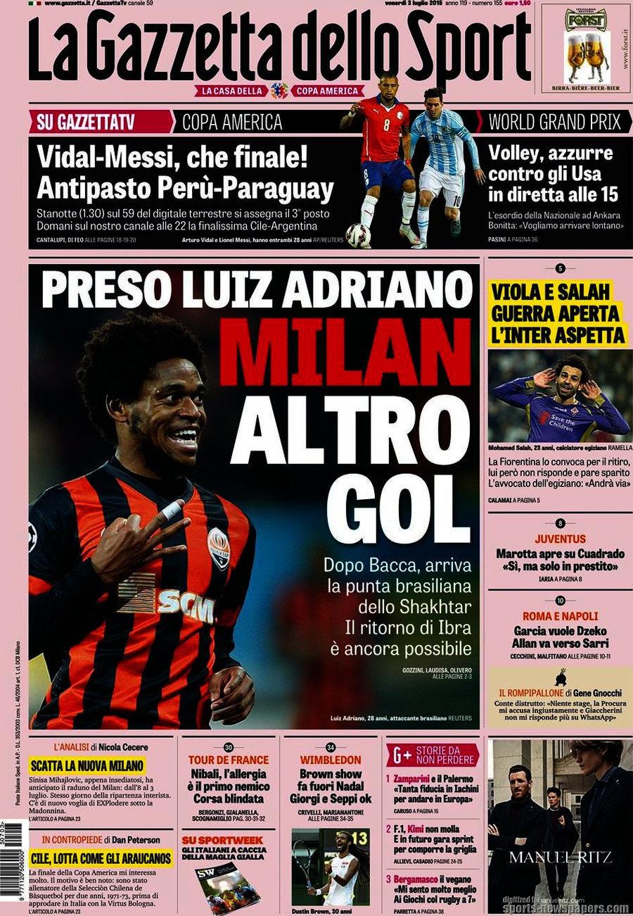 Ecco le prime pagine e gli approfondimenti sportivi dei principali quotidiani italiani e stranieri in edicola oggi, venerdì 3 luglio 2015.