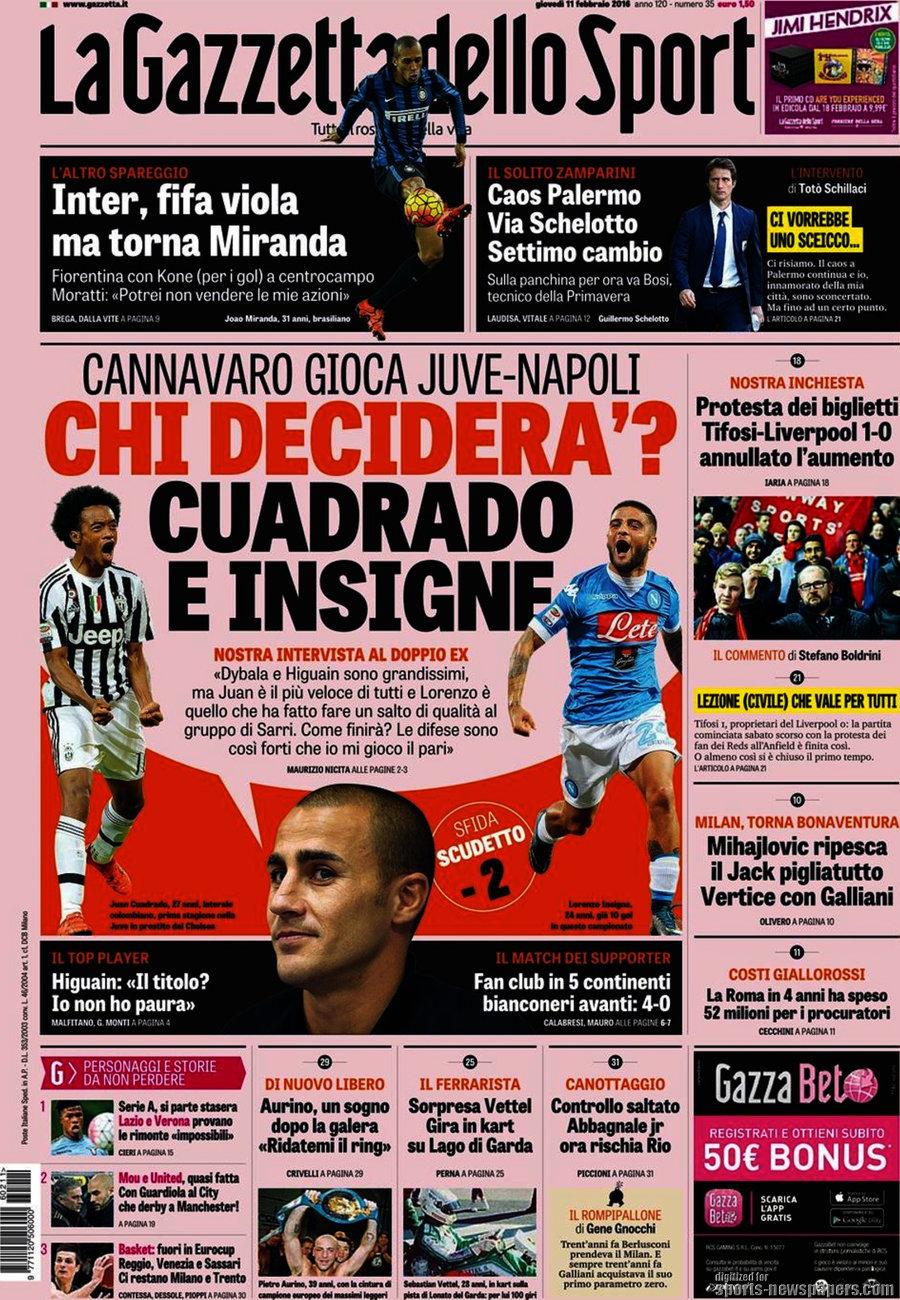 Ecco le prime pagine e gli approfondimenti sportivi dei principali quotidiani italiani e stranieri in edicola oggi, giovedì 11 febbraio 2016.