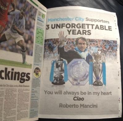 del Manchester City - si legge a pagina intera con la foto di Mancini ...
