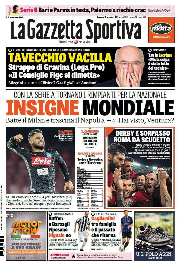 Ecco le prime pagine e gli approfondimenti sportivi dei principali quotidiani italiani e stranieri in edicola oggi, domenica 19 novembre 2017.