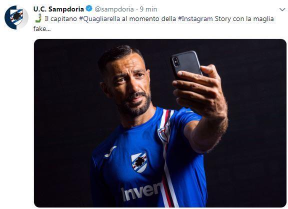 La Samp annuncia lo scherzo della nuova maglia fake su Twitter