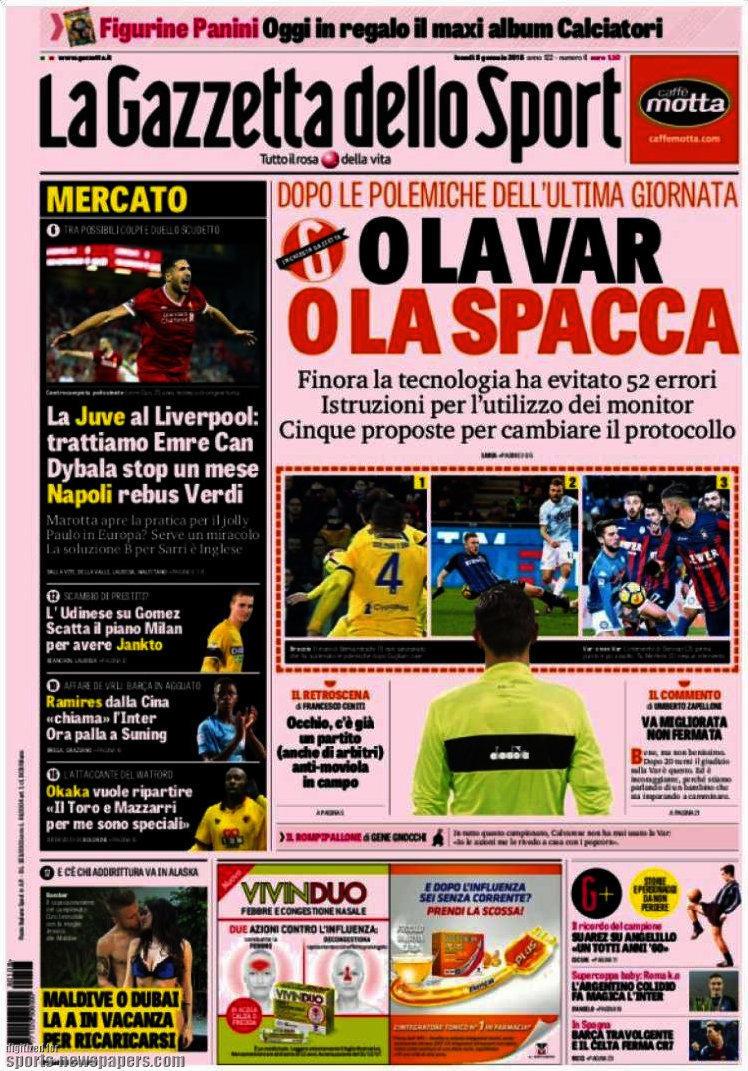 Le prime pagine e gli approfondimenti sportivi dei principali quotidiani italiani e stranieri in edicola oggi, lunedì 8 gennaio 2018.