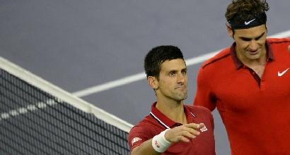 Federer e Djokovic, foto Afp