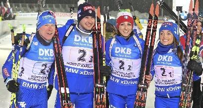 Coppa del mondo di biathlon, l'Italia vince la staffetta mista