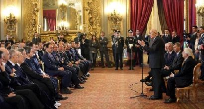 Gli Azzurri da Napolitano (Ansa), Foto Ansa