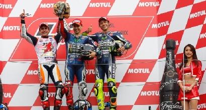 Lorenzo e Rossi podio MotoGP.com, Foto Ufficio Stampa