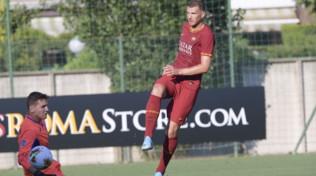 Roma-Trastevere 10-1: doppietta di Dzeko, esordio per Mancini