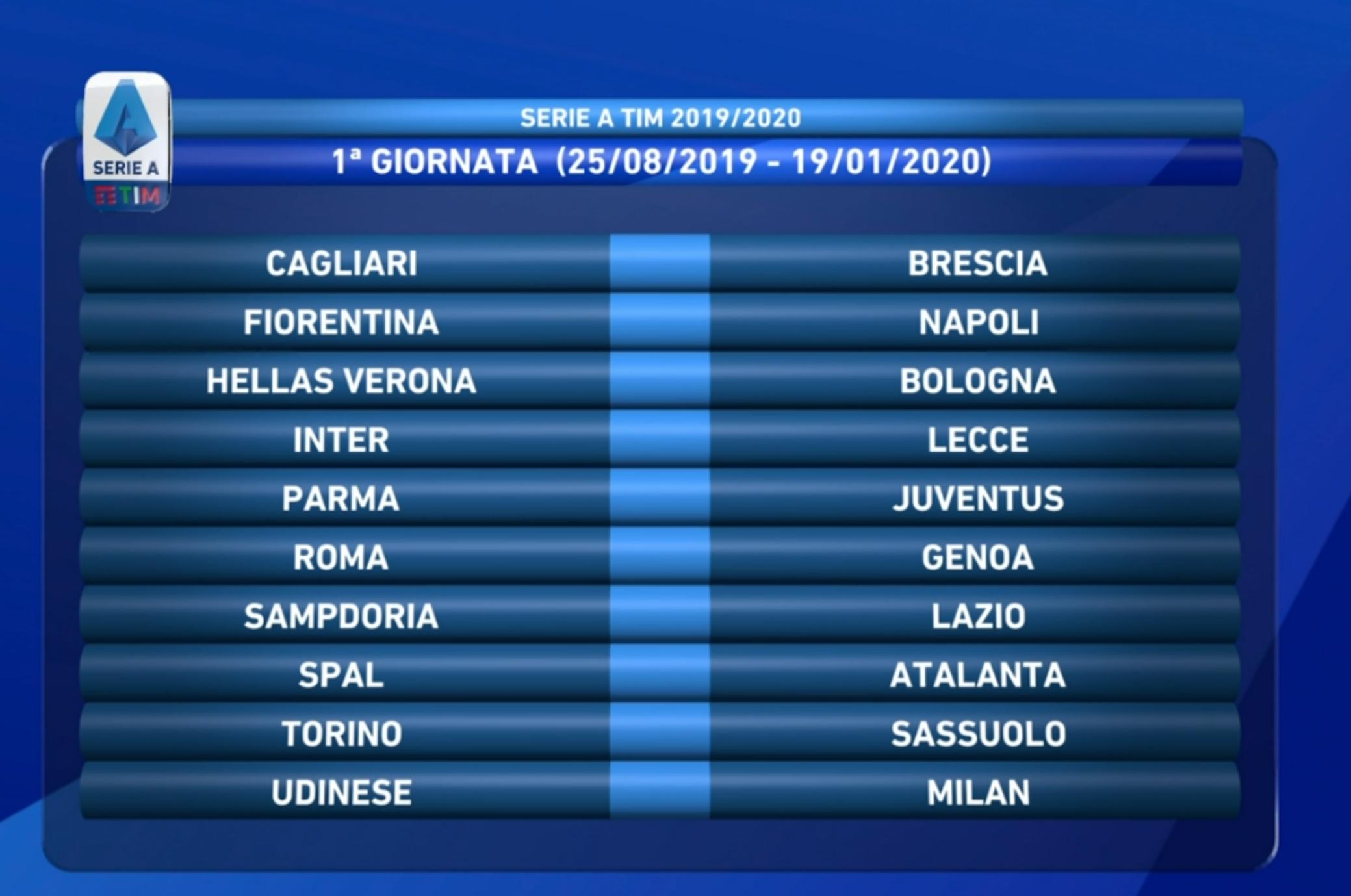 Serie A Calendario Inter.Serie A La Juve Inizia A Parma Alla 2a Big Match Col