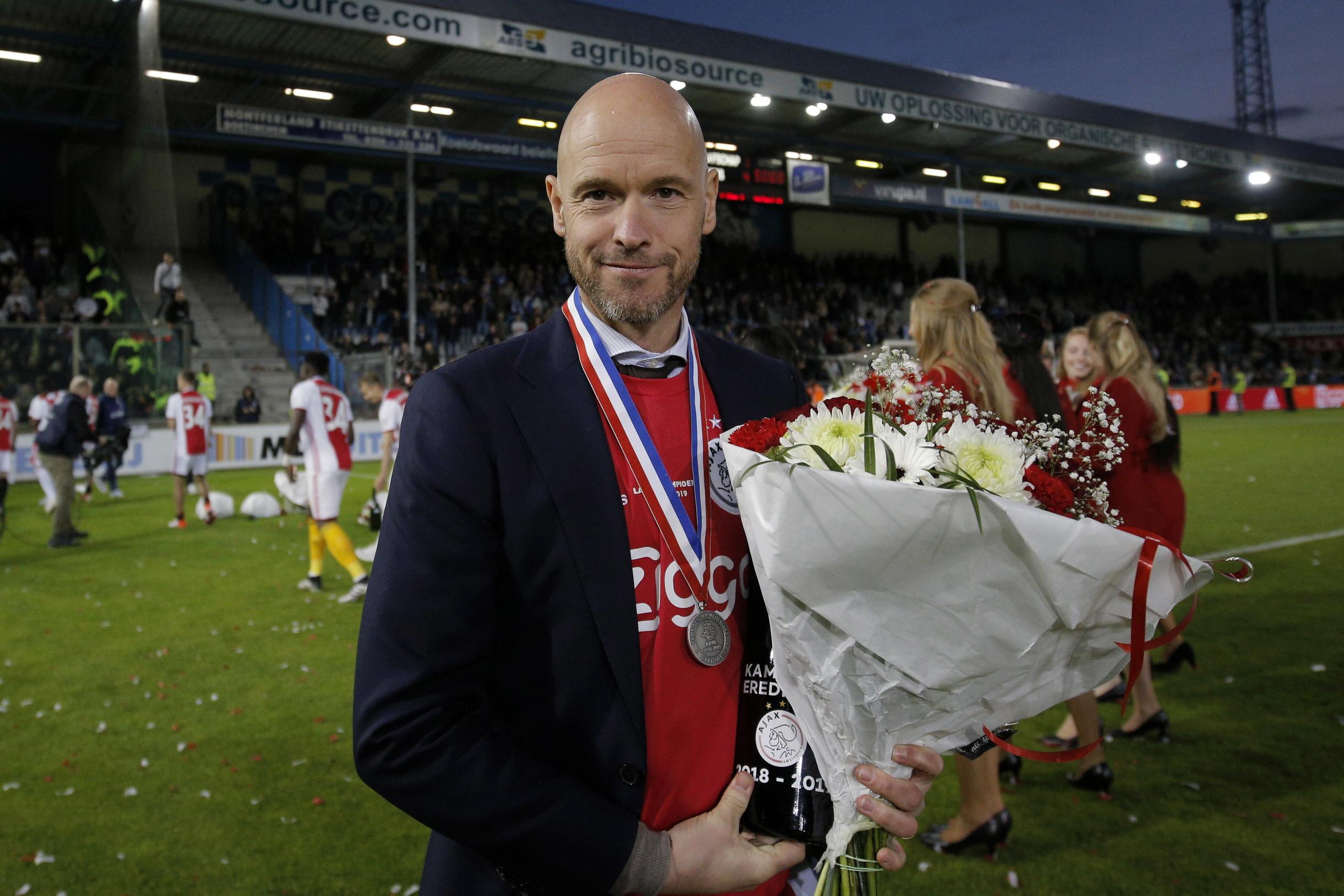 Erik ten Hag, allenatore dell'Ajax vincitore dell'Eredivisie ed eliminato in semifinale di Champions