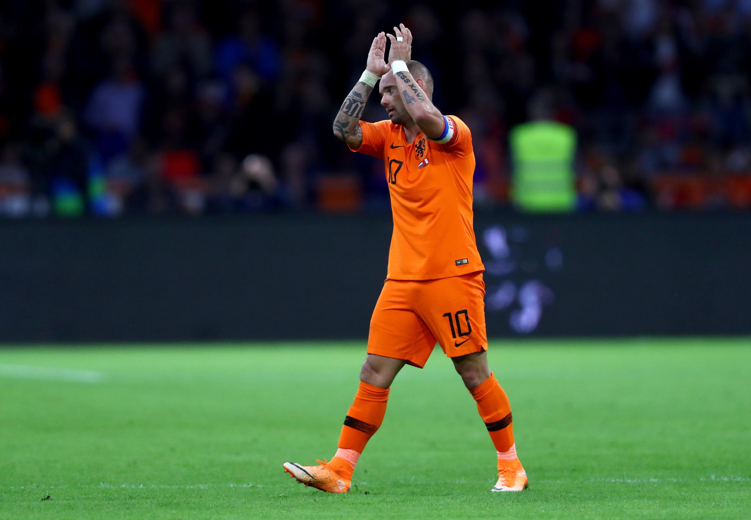 <p>Wesley Sneijder con la maglia dell'Olanda (134 presenze e 31 gol)</p>