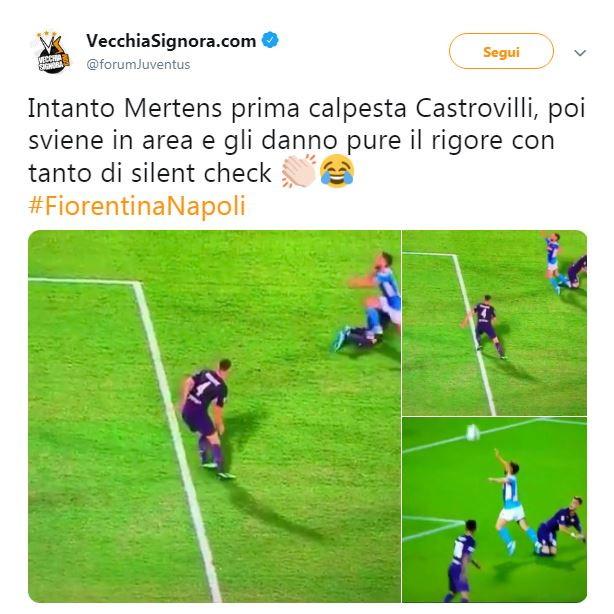 Al minuto 40 di Fiorentina-Napoli l'arbitro Massa assegna un rigore agli azzurri per il contatto tra Mertens e Castrovilli. Il penalty sembra a di...