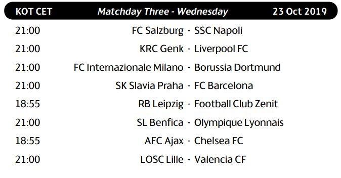 La Uefa ha reso noto date e orari dei match dei gironi