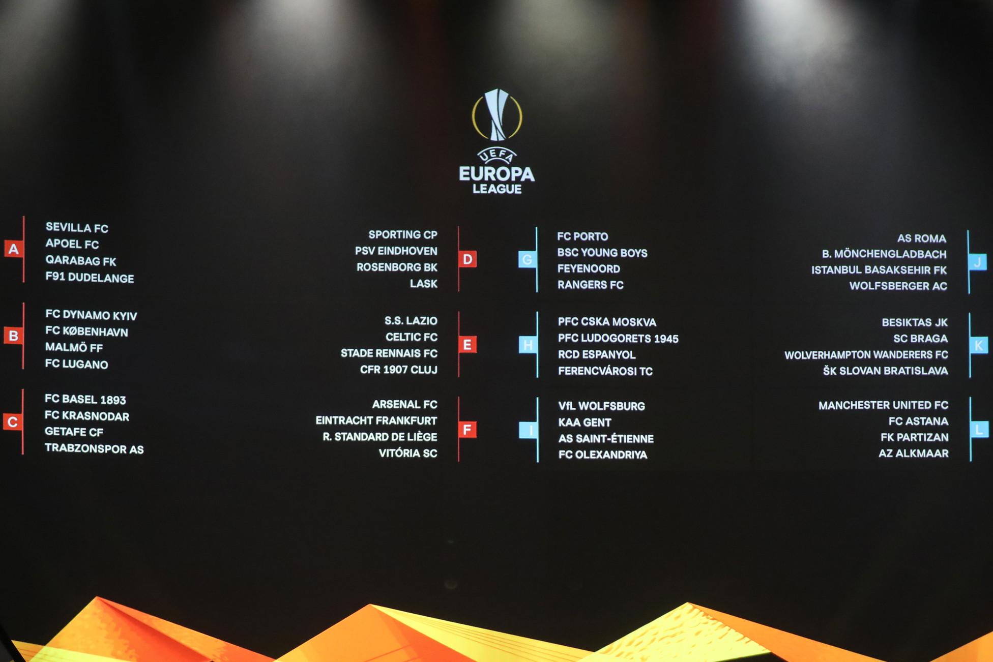 Calendario Gironi Champions 2020.Br Europa League Sorteggiati I Gironi Di Lazio E Roma