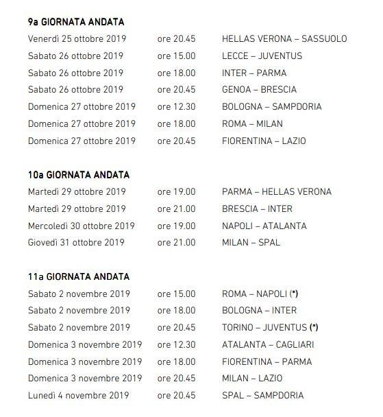 Calendario Serie A Anticipi Posticipi 2020.Serie A Anticipi E Posticipi Dalla Terza Alla Sedicesima