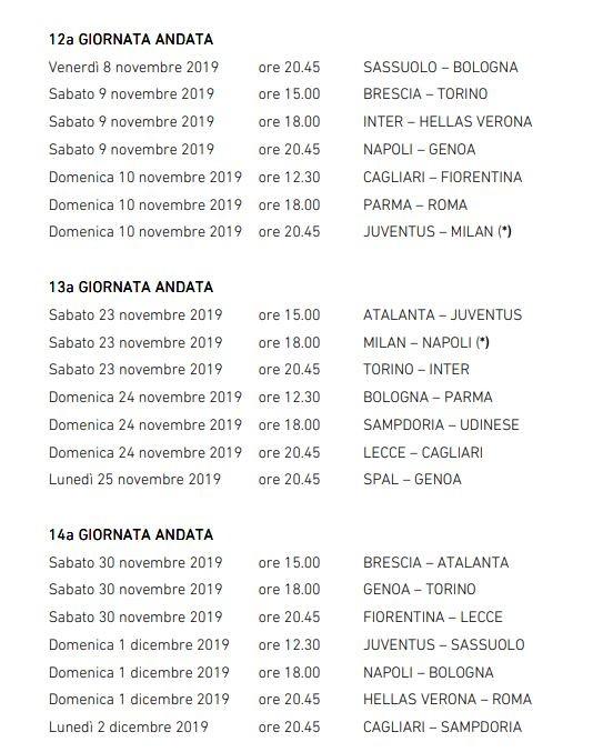 Serie A Anticipi E Posticipi Dalla Terza Alla Sedicesima Giornata Di Andata News Sportmediaset