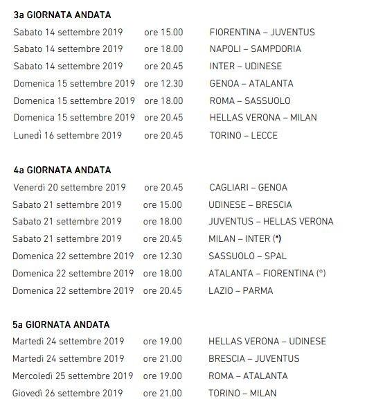 Calendario Serie A 2020 18 Anticipi E Posticipi.Serie A Anticipi E Posticipi Dalla Terza Alla Sedicesima