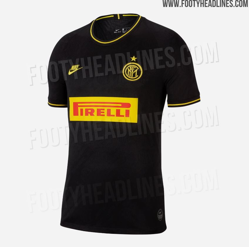 Footyheadlines anticipa la terza maglia dell'Inter per la stagione 2019/20: base grigio scuro, quasi nero, e dettagli gialli aricordare il 1...
